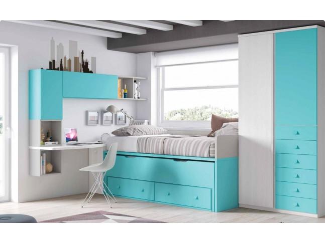 Chambre enfant originale et PERSONNALISABLE avec lit gigogne F053 - GLICERIO