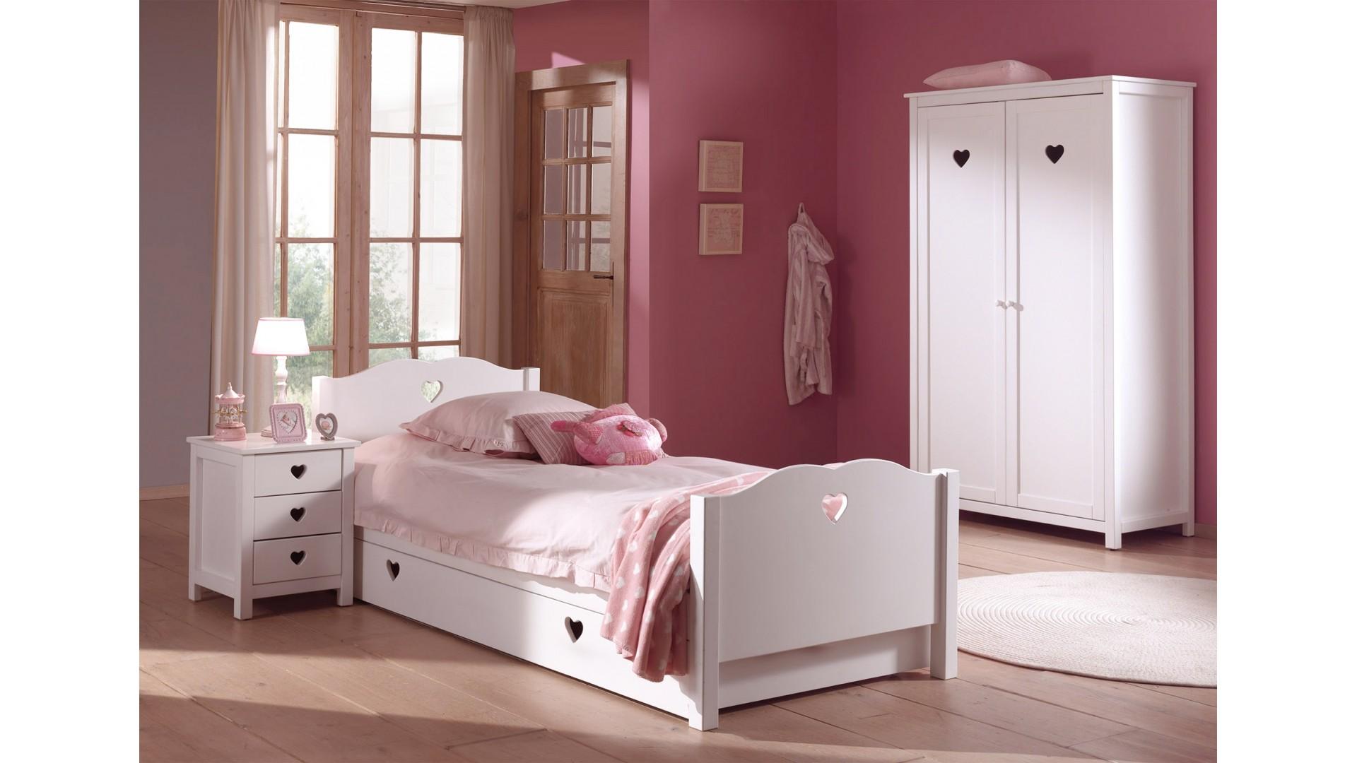 Lit fillette chambre EMILIE avec couchage 90x200 cm - SONUIT