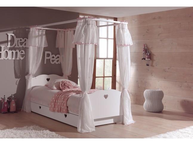 Lit baldaquin enfant chambre EMILIE avec couchage 90x200 cm - SONUIT
