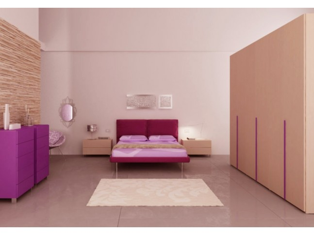Chambre adulte PERSONNALISABLE AM20 lit double, chevets, commodes & grande armoire - MORETTI COMPACT