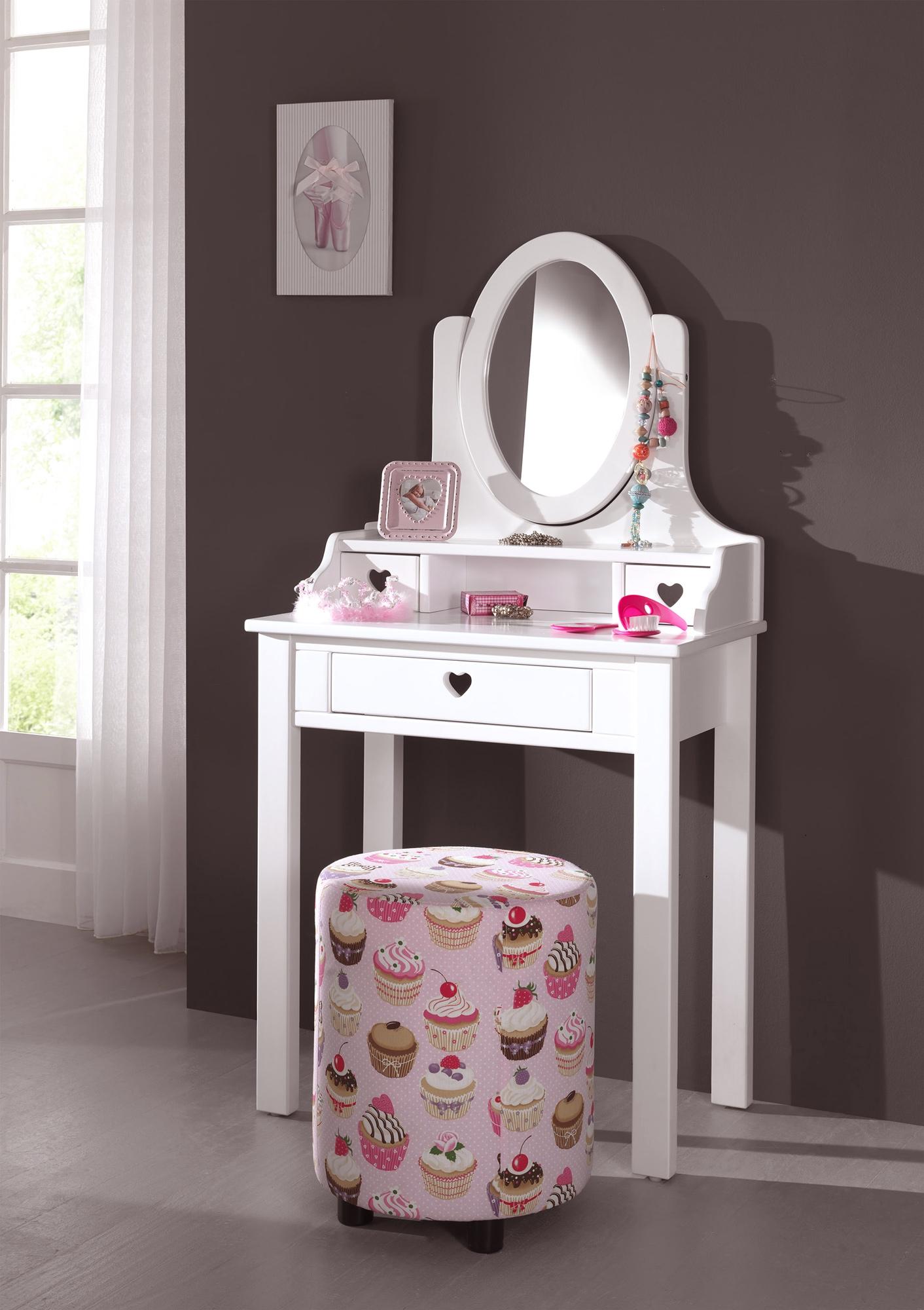 coiffeuse fille de la chambre emilie au style romantique so nuit. Black Bedroom Furniture Sets. Home Design Ideas