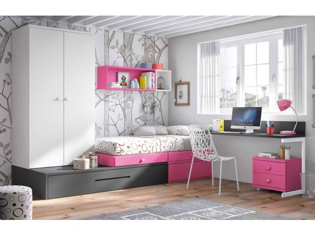Chambre enfant complete PERSONNALISABLE avec lit gigogne F251 - GLICERIO