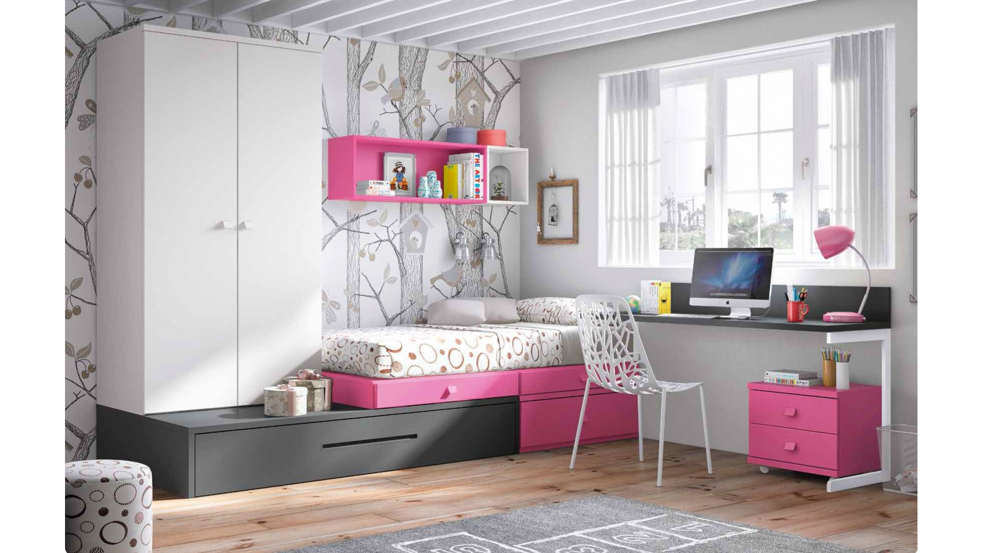 chambre enfant complete personnaliser girly glicerio. Black Bedroom Furniture Sets. Home Design Ideas