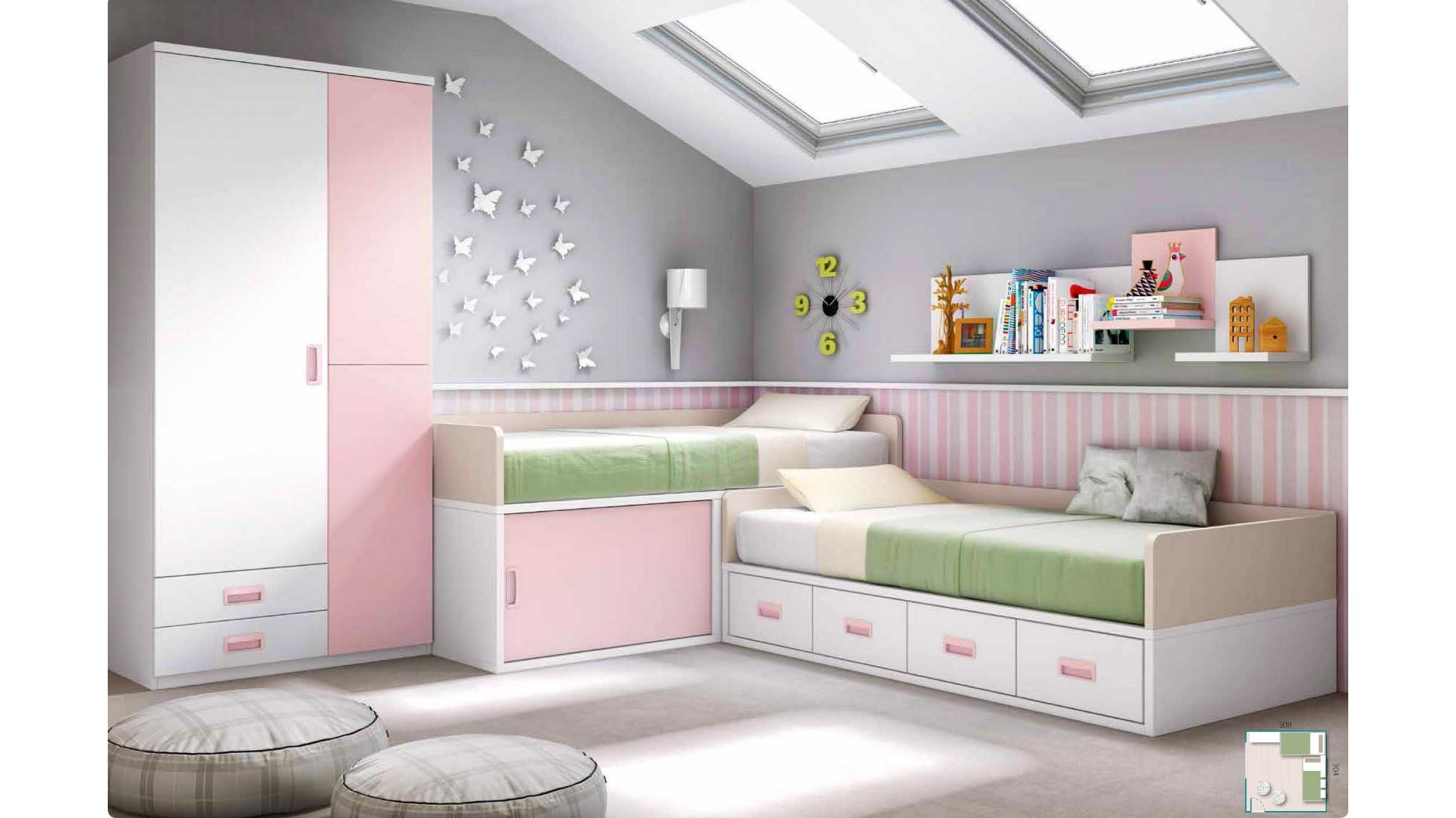 chambre fillette personnaliser pour 2 fille glicerio so nuit. Black Bedroom Furniture Sets. Home Design Ideas