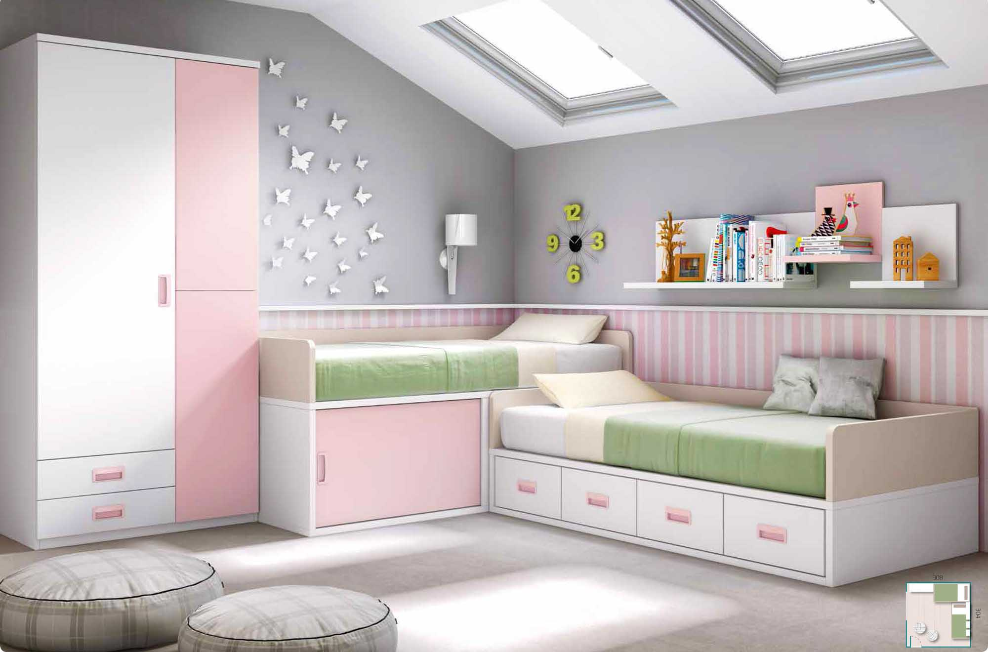 chambre fillette personnaliser pour 2 fille glicerio. Black Bedroom Furniture Sets. Home Design Ideas