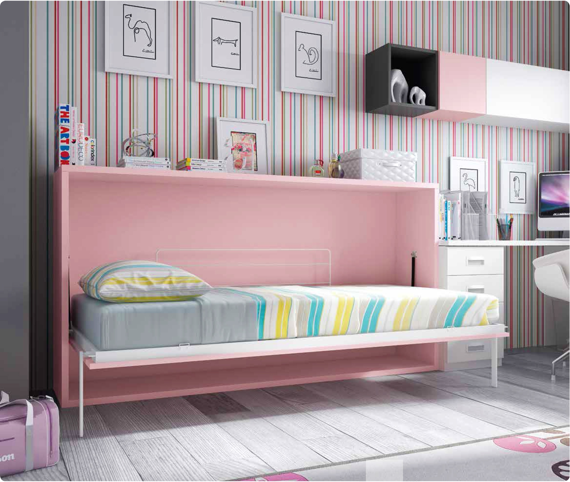 lit escamotable mural avec bureau personnaliser. Black Bedroom Furniture Sets. Home Design Ideas