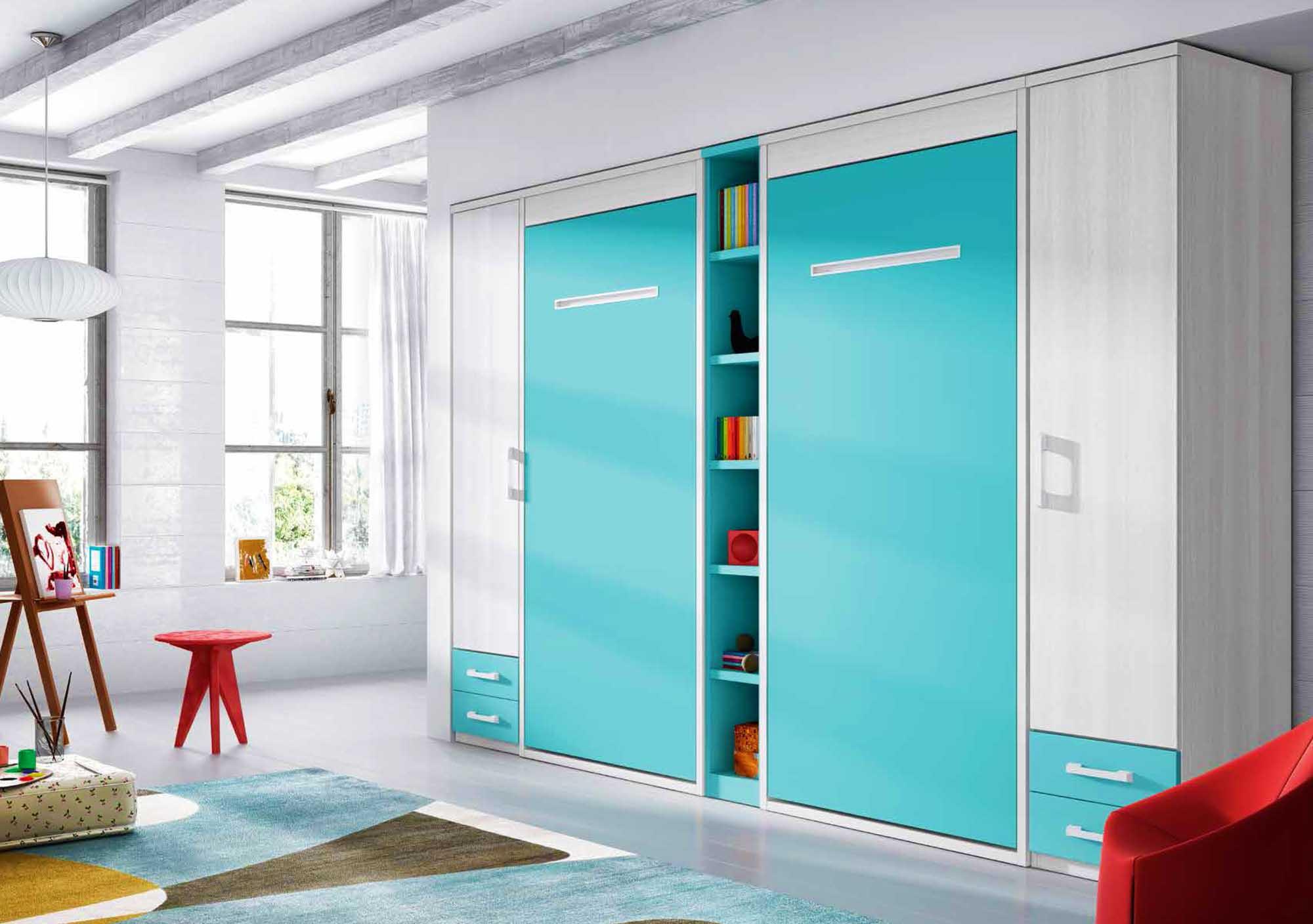 Lit escamotable armoire avec 2 couchages PERSONNALISABLE F361 - GLICERIO