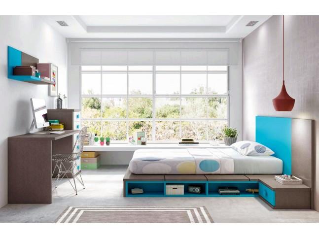 """Chambre avec lit japonais futon """"couchage 140 x 190"""" PERSONNALISABLE F465 - GLICERIO"""