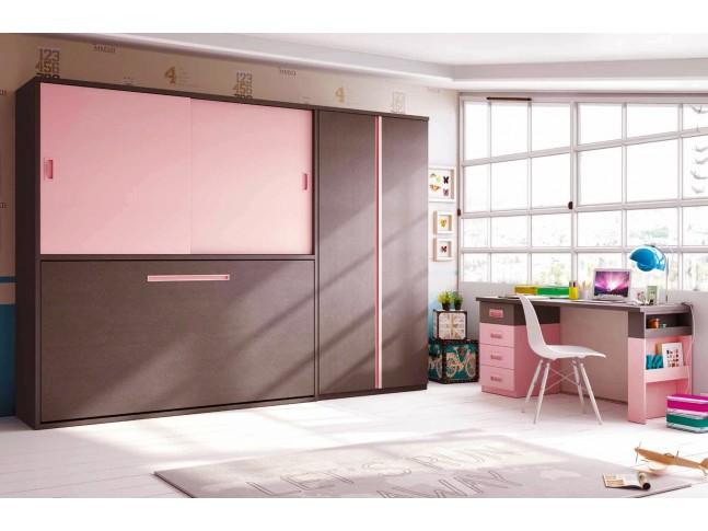 lit escamotable enfant mural encastrable et rabattable avec bureau. Black Bedroom Furniture Sets. Home Design Ideas