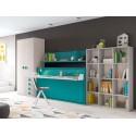 Chambre enfant avec lit escamotable mural et son bureau amovible PERSONNALISABLE F407 - GLICERIO