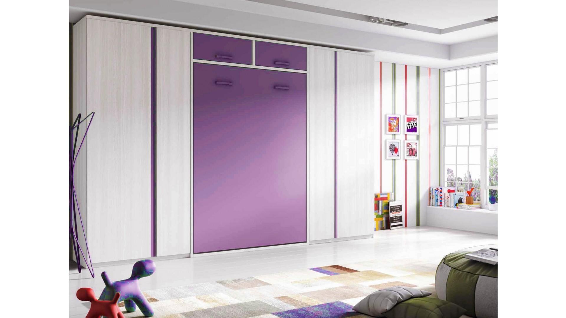 Chambre enfant avec lit armoire escamotable couchage de 140 x 190 PERSONNALISABLE F364 - GLICERIO