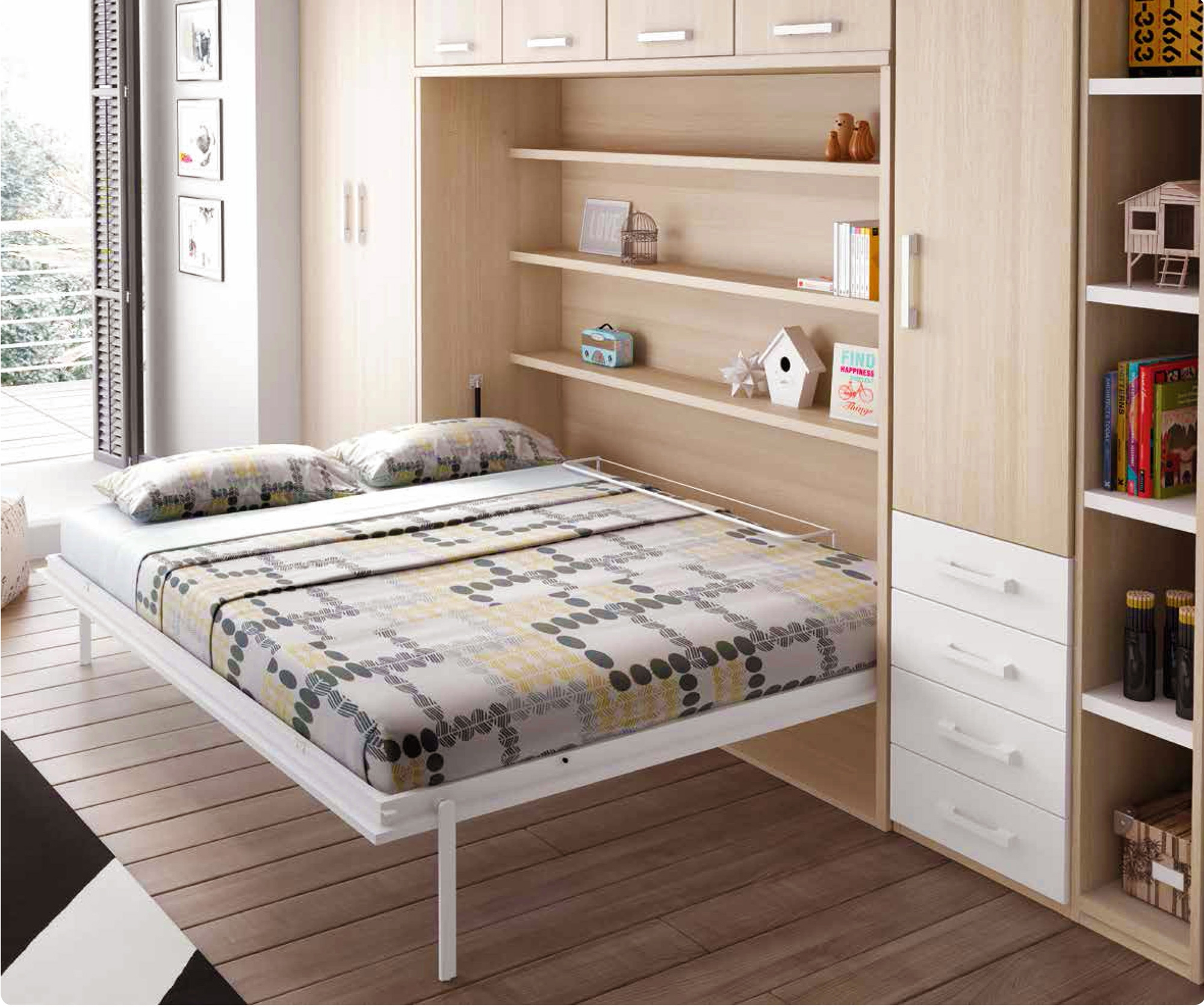 chambre avec lit armoire escamotable horizontal glicerio so nuit. Black Bedroom Furniture Sets. Home Design Ideas
