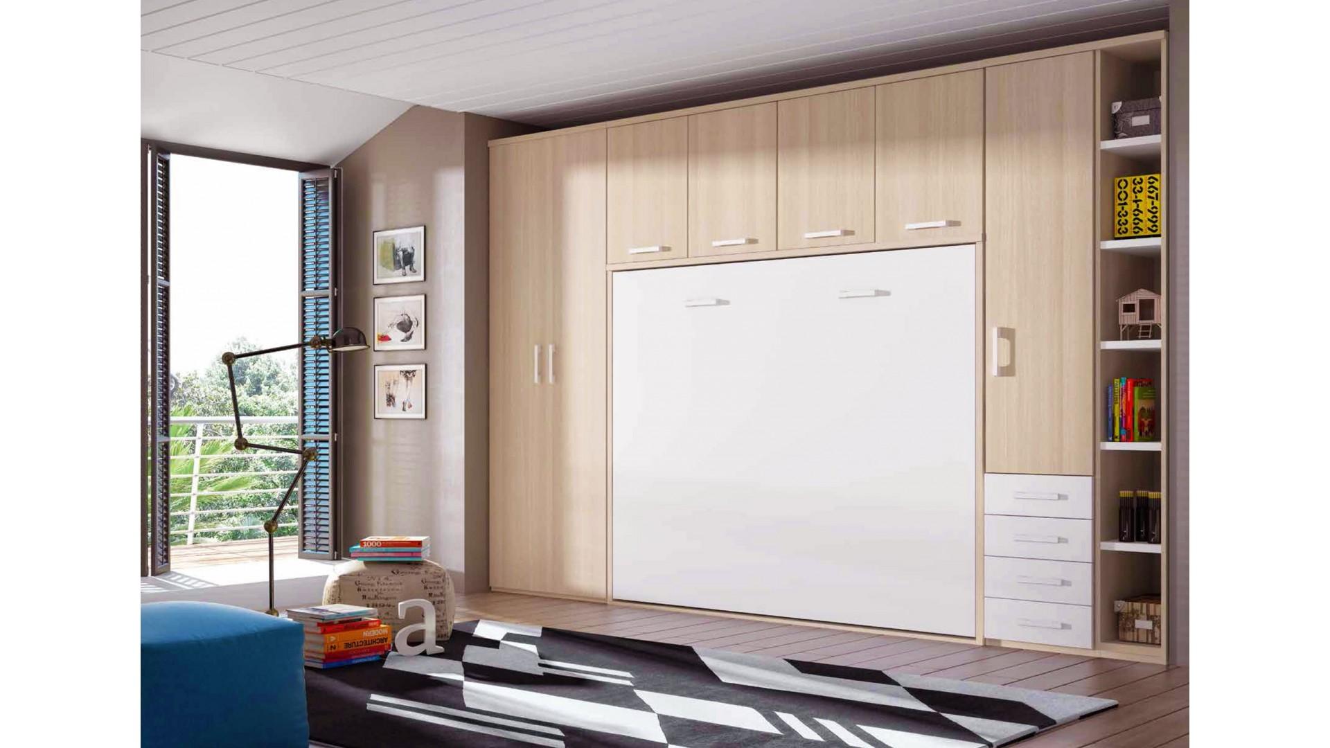 Chambre avec lit armoire escamotable avec couchage 160 x 200 PERSONNALISABLE F365 - GLICERIO