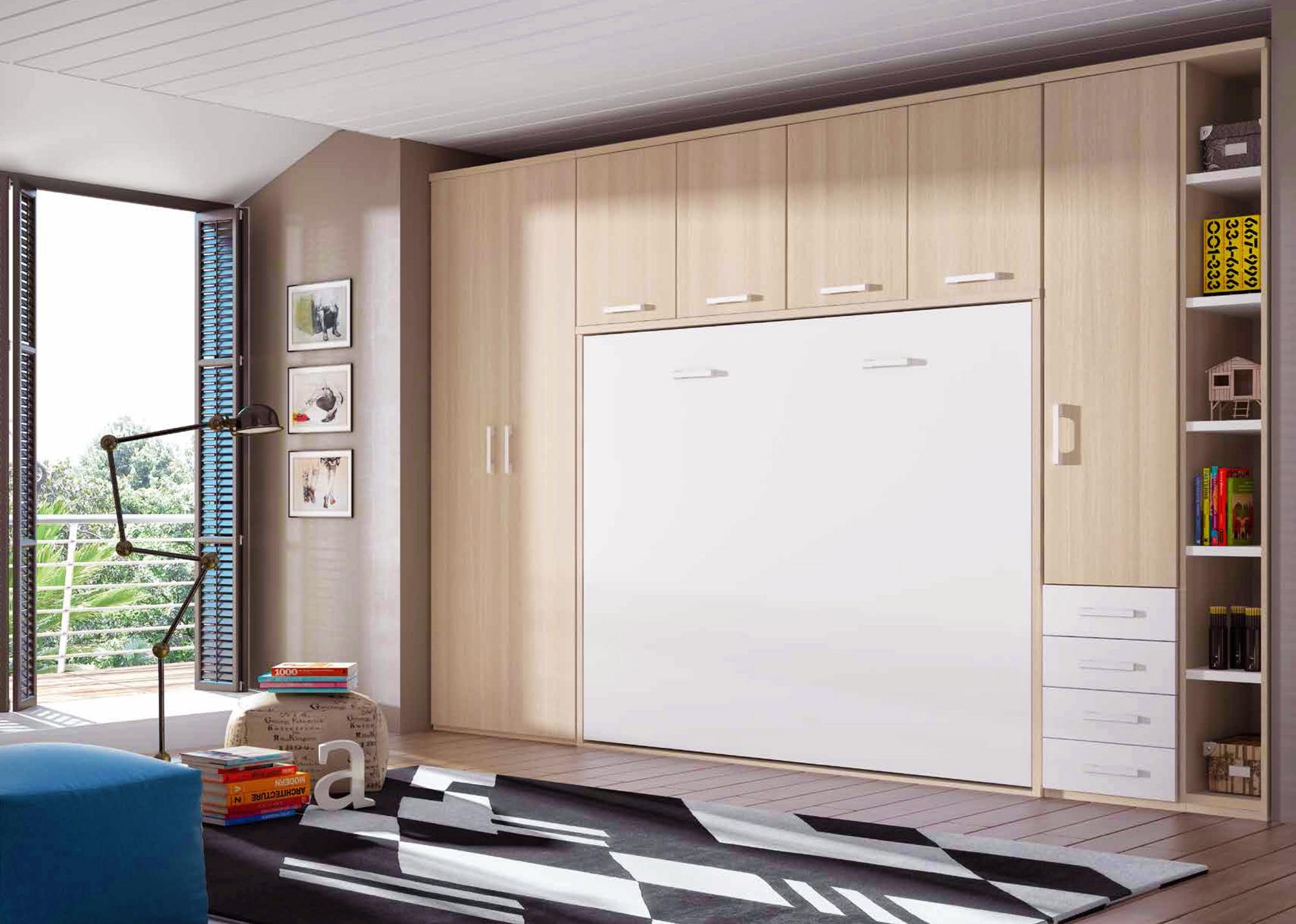 Armoire Murale Pour Chambre chambre avec lit armoire escamotable horizontal - glicerio