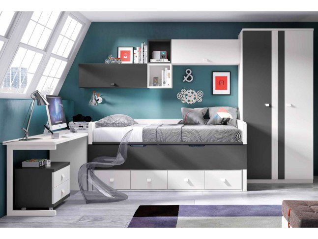 chambre enfant avec lit mezzanine bureau moretti compact so nuit. Black Bedroom Furniture Sets. Home Design Ideas