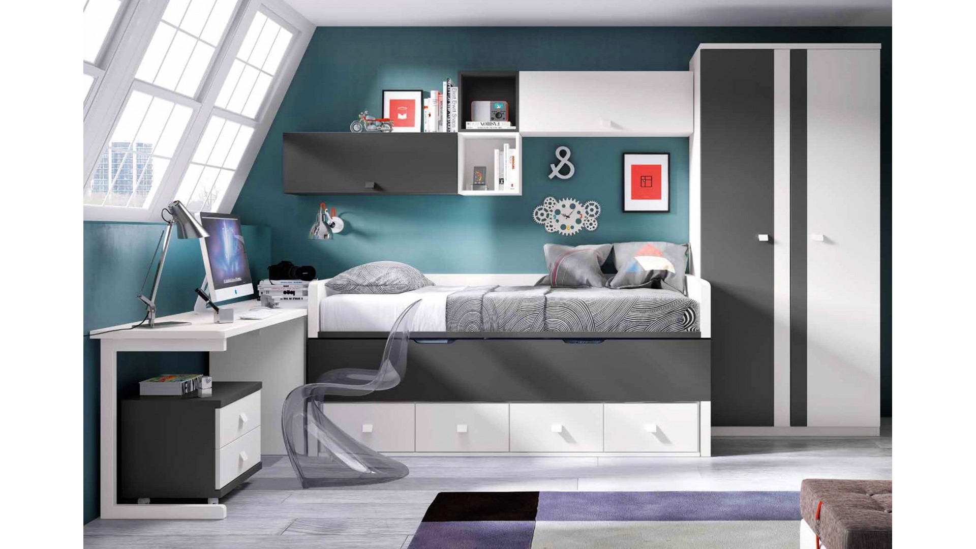 chambre ado garcon ultra moderne personnaliser glicerio so nuit. Black Bedroom Furniture Sets. Home Design Ideas