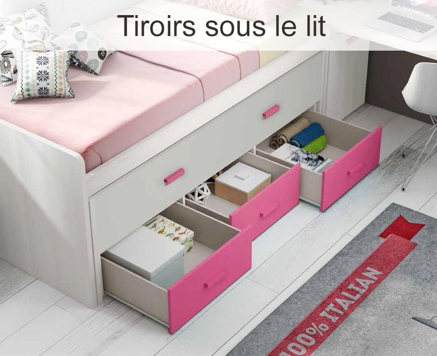 Compartiment rangement tiroir - Lit gigogne avec bureau ...