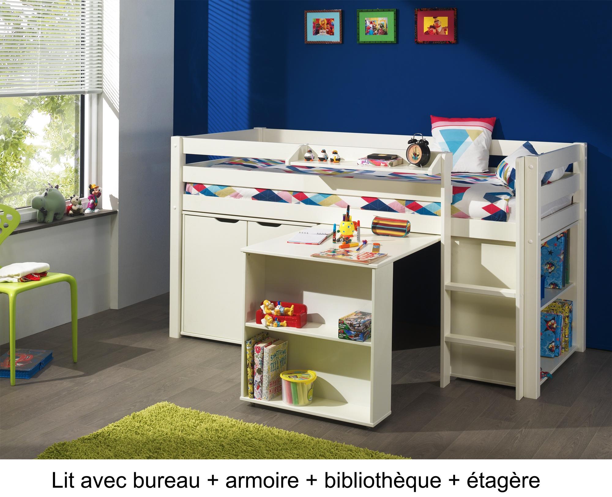 lit enfant combin bureau et rangement theo en pin massif so nuit. Black Bedroom Furniture Sets. Home Design Ideas