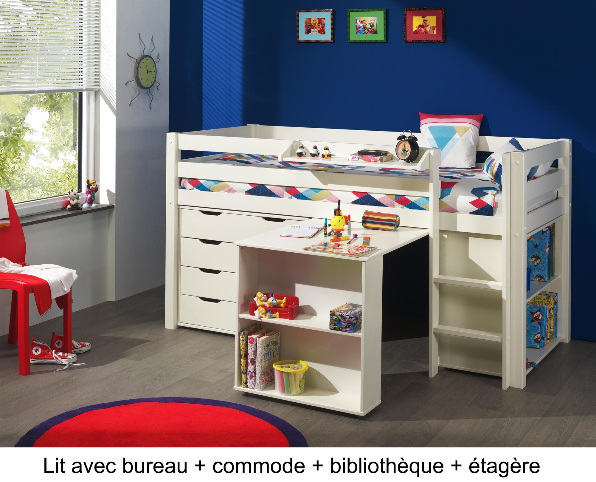 lit enfant combin bureau et rangement theo en pin massif. Black Bedroom Furniture Sets. Home Design Ideas