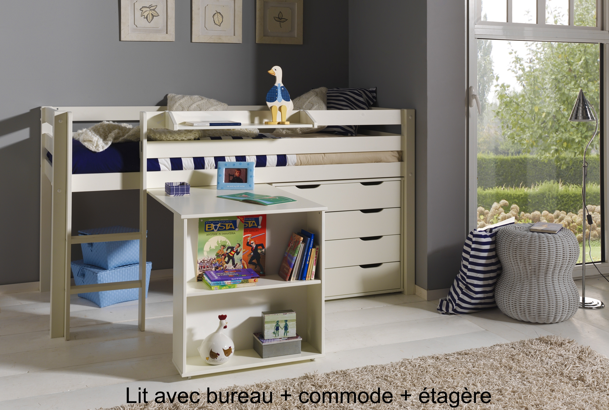 lit enfant combin bureau et rangement theo en pin massif. Black Bedroom Furniture Sets. Home Design Ideas