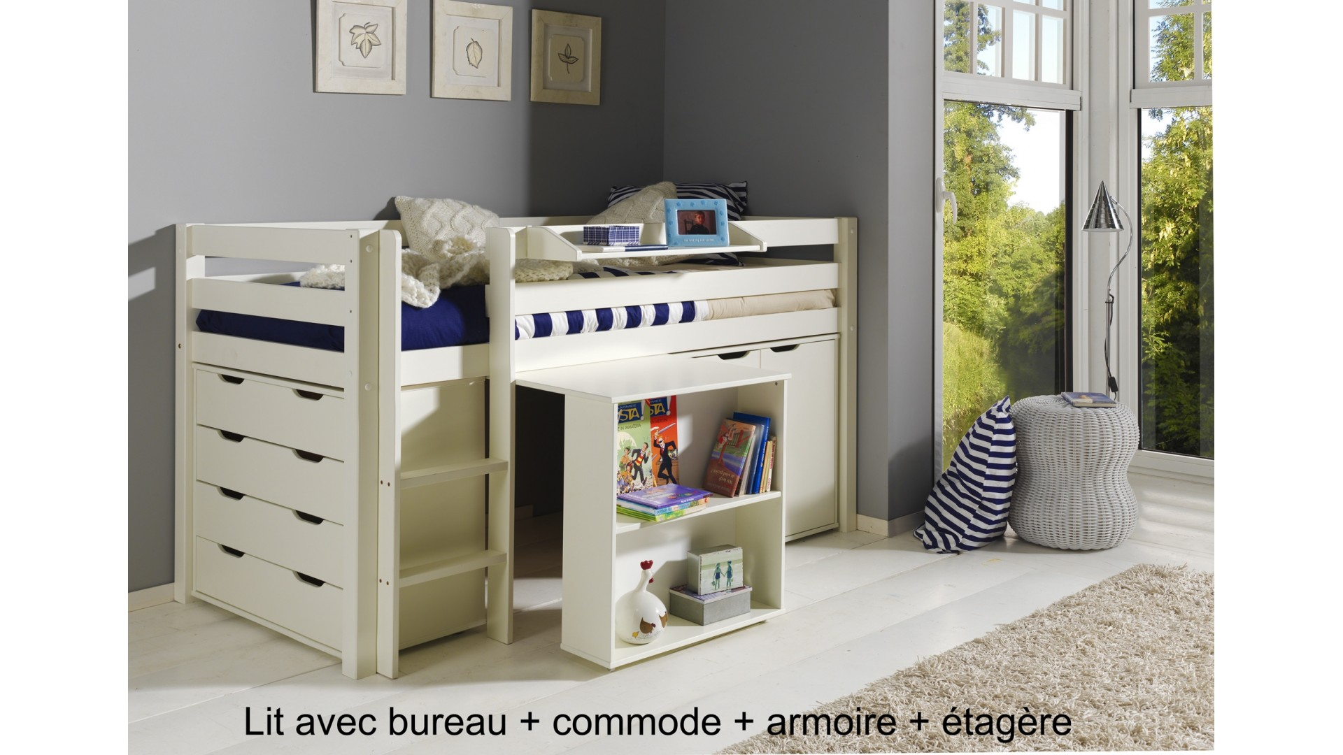 lit combine bureau emilio lit combin bureau blanc achat. Black Bedroom Furniture Sets. Home Design Ideas