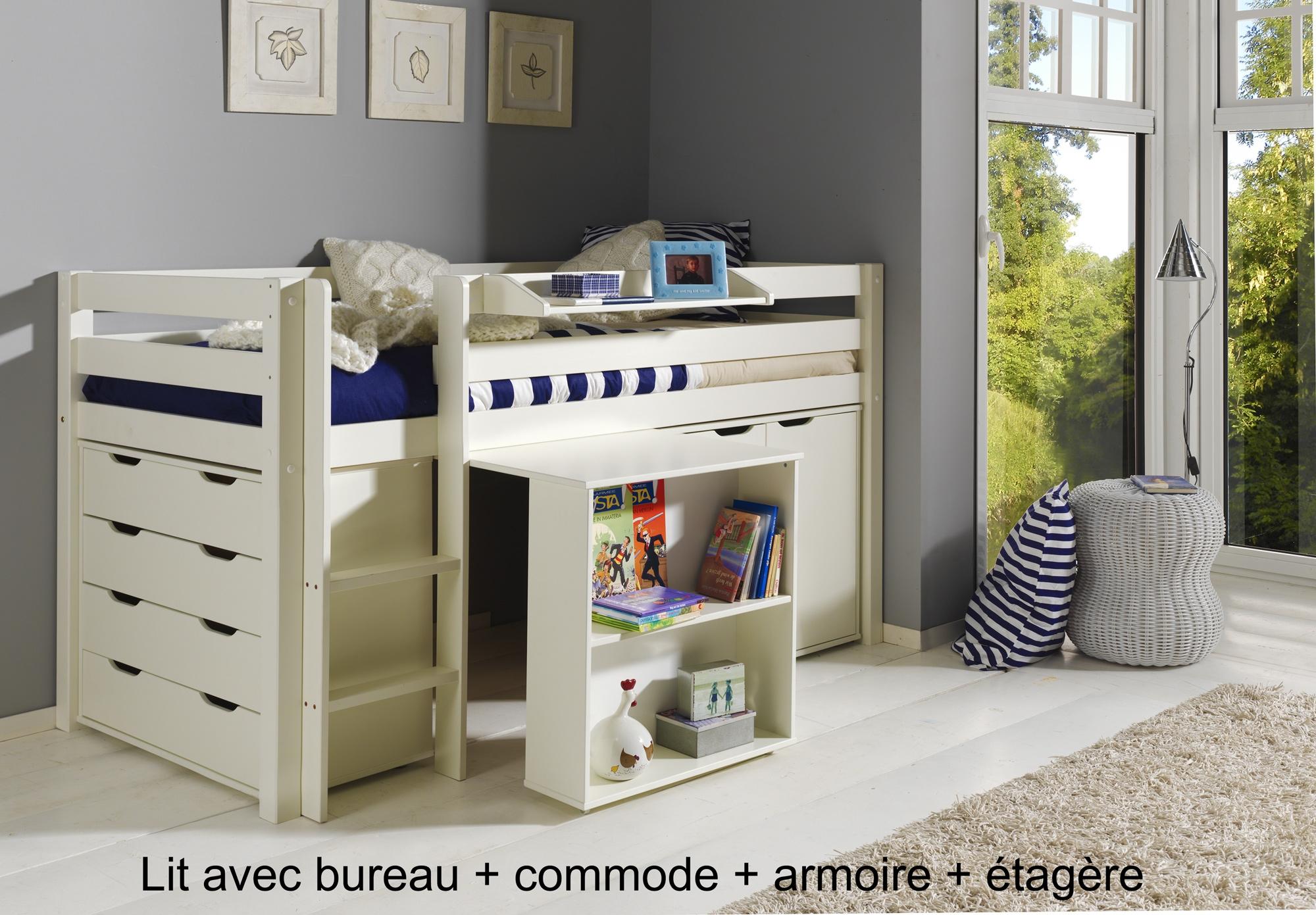 lit enfant combin bureau et rangement theo 90x200 cm sonuit - Lit Combine Enfant