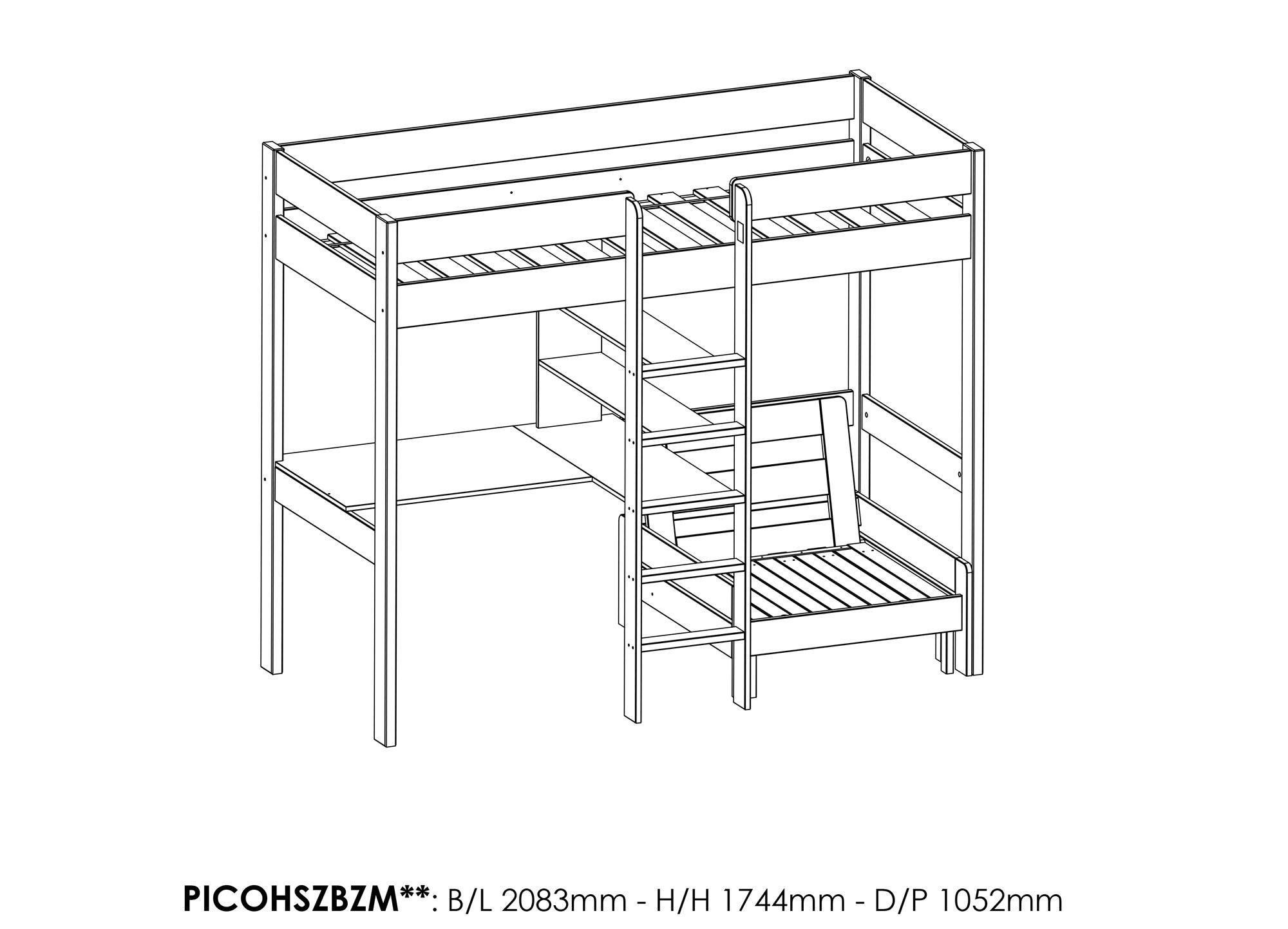 lit mezzanine avec bureau et fauteuil alexis en pin massif so nuit. Black Bedroom Furniture Sets. Home Design Ideas