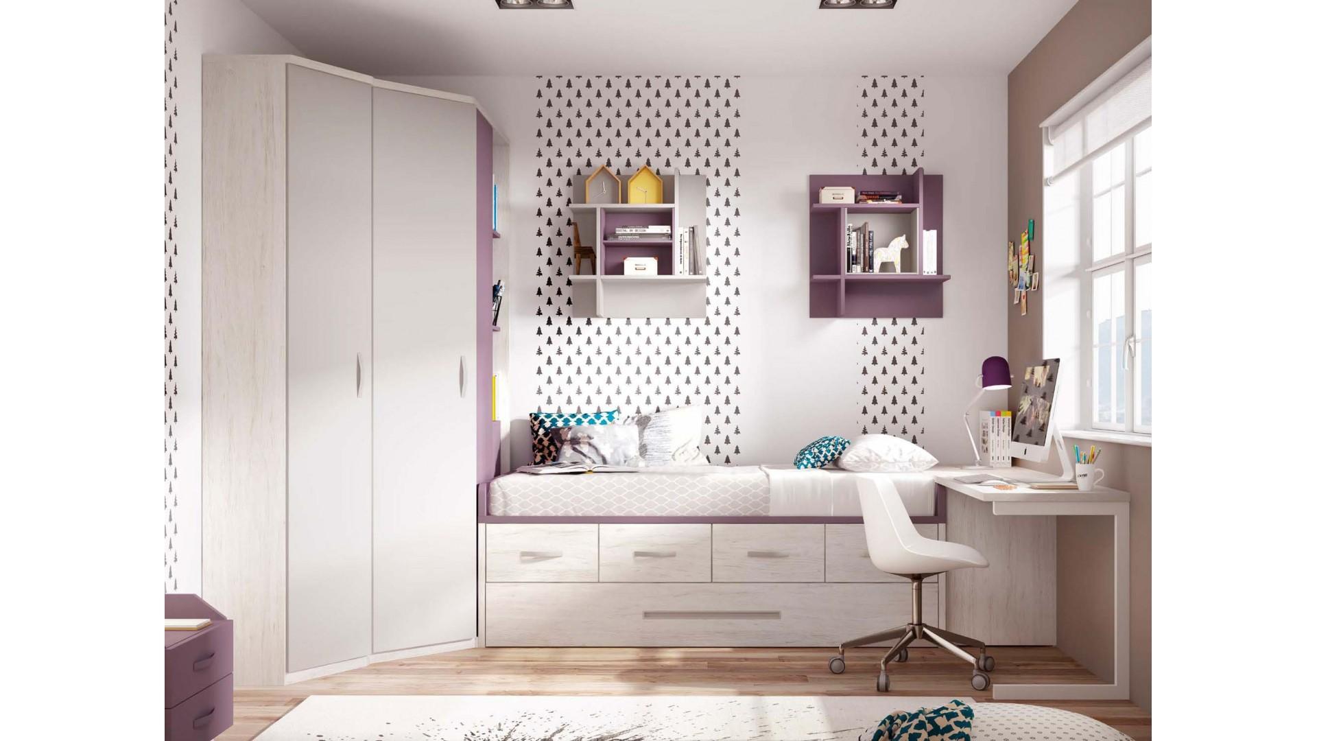 Chambre enfant fille avec lit gigogne PERSONNALISABLE F054 - GLICERIO