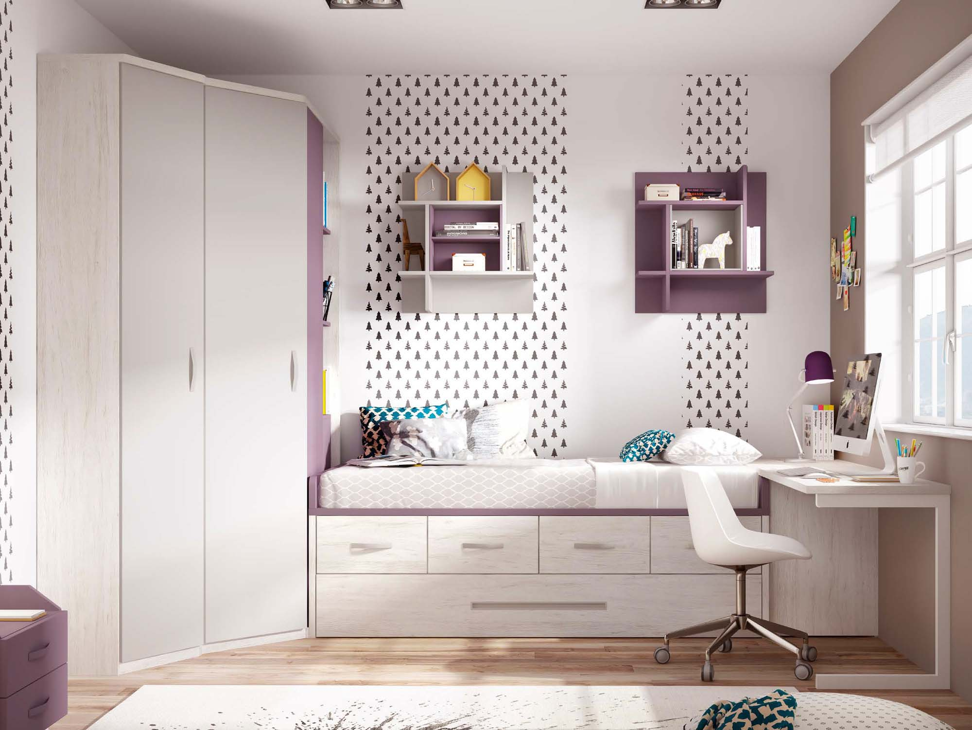 chambre enfant fille avec lit gigogne glicerio so nuit. Black Bedroom Furniture Sets. Home Design Ideas