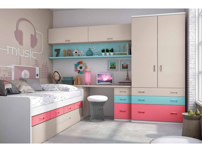 Chambre ado fille avec lit gigogne fun color e glicerio so nuit for Photo chambre ado fille