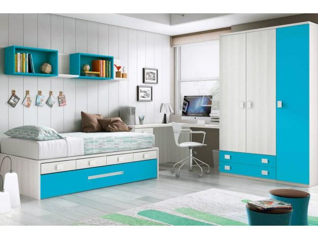 Chambre enfant garcon avec lit gigogne PERSONNALISABLE F070 - GLICERIO
