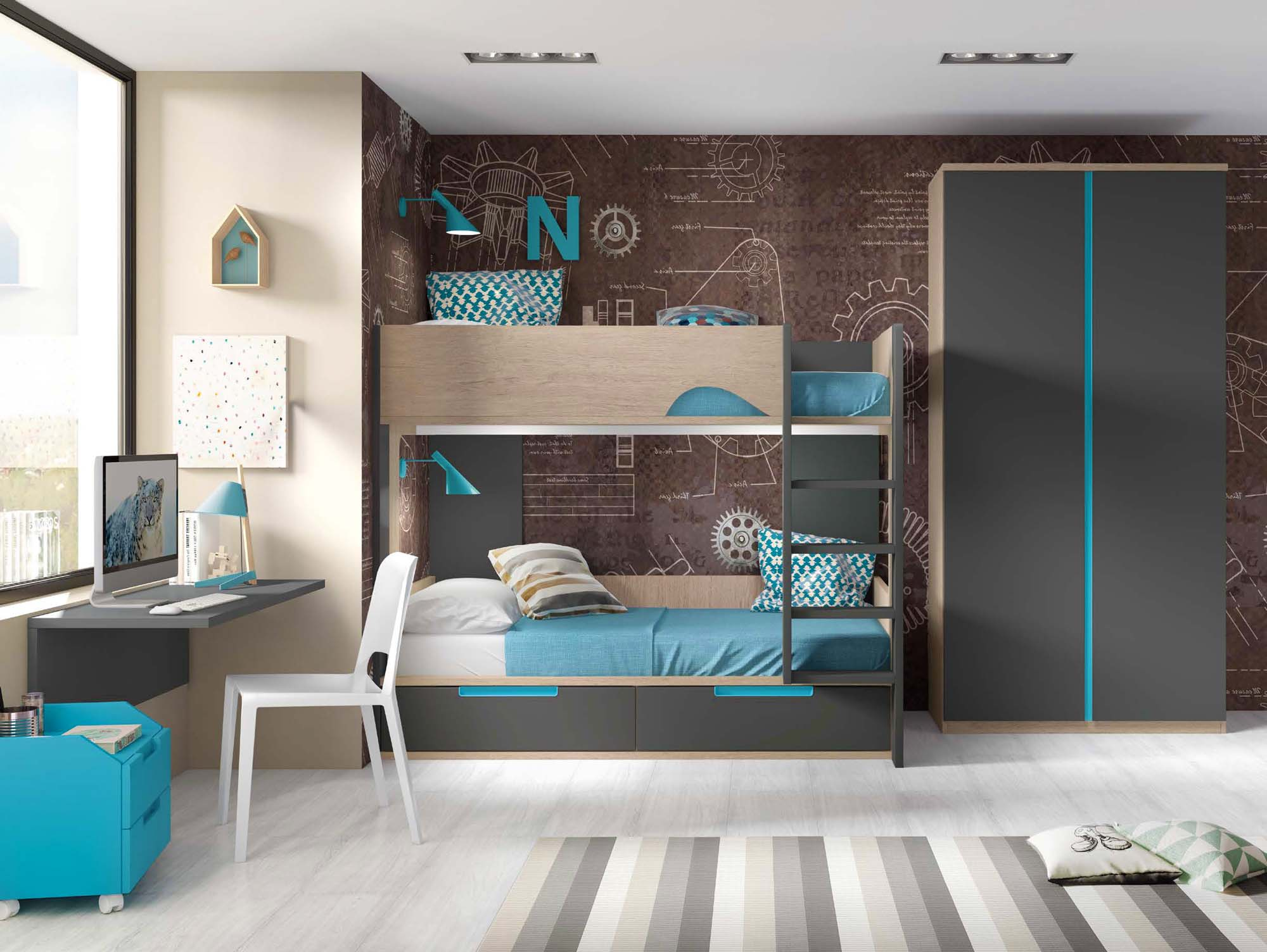 lit superpos avec bureau pour 2 enfants glicerio so nuit. Black Bedroom Furniture Sets. Home Design Ideas