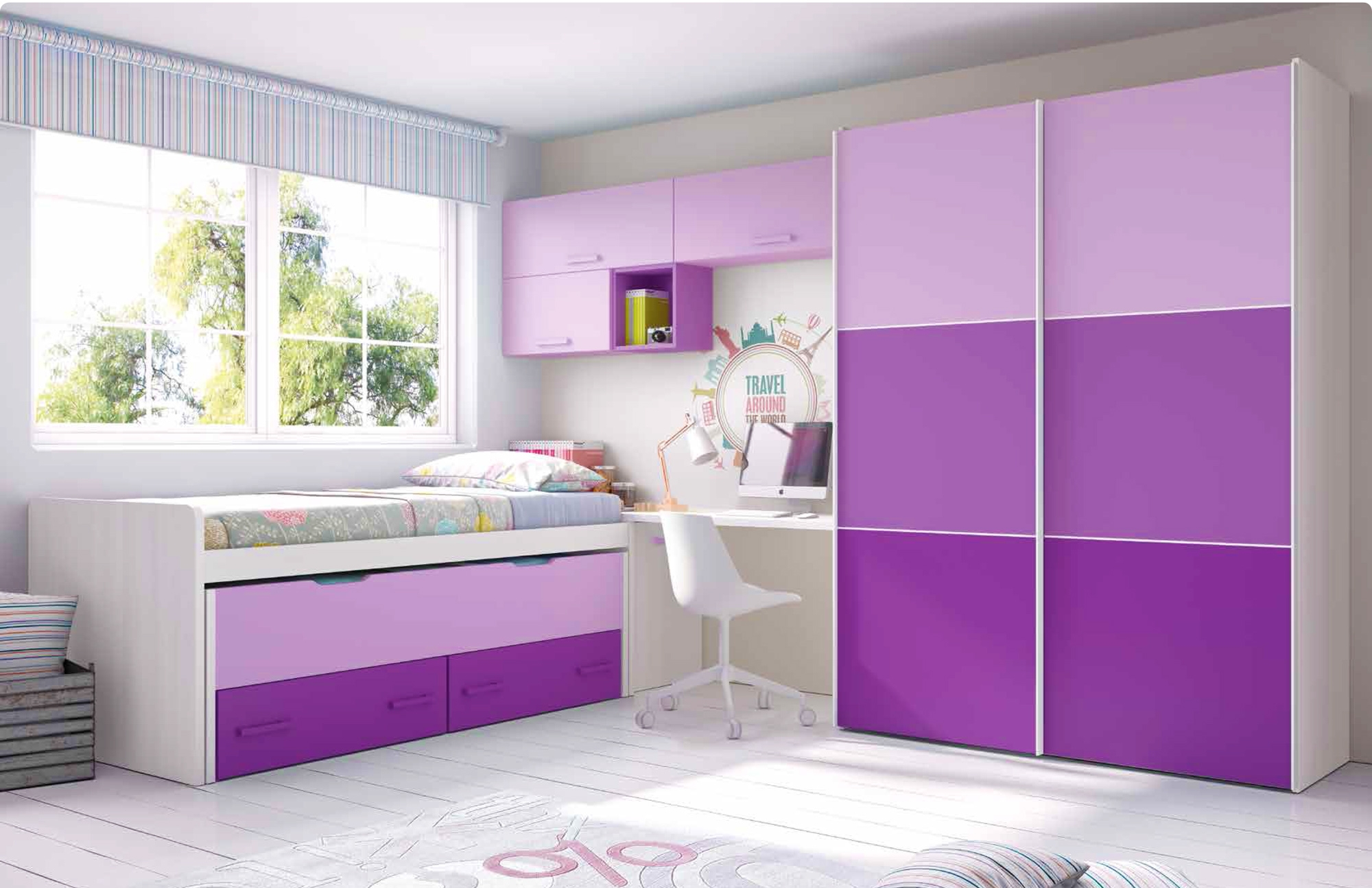 chambre ado fille moderne violet avec des id es int ressantes pour la conception. Black Bedroom Furniture Sets. Home Design Ideas