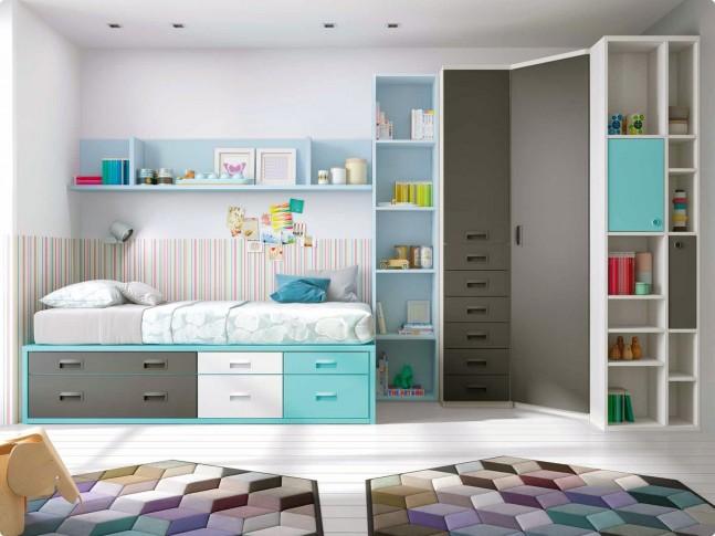 Chambre ado garcon avec lit gigogne PERSONNALISABLE F078 - GLICERIO