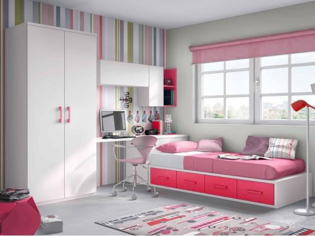 Chambre pour ado fille avec lit double PERSONNALISABLE F153 - GLICERIO