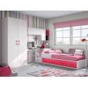 Chambre pour ado fille avec lit 4 coffres PERSONNALISABLE F154 - GLICERIO