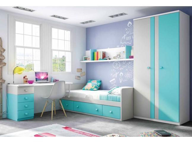 Chambre enfant garcon avec lit canapé PERSONNALISABLE F158 - GLICERIO