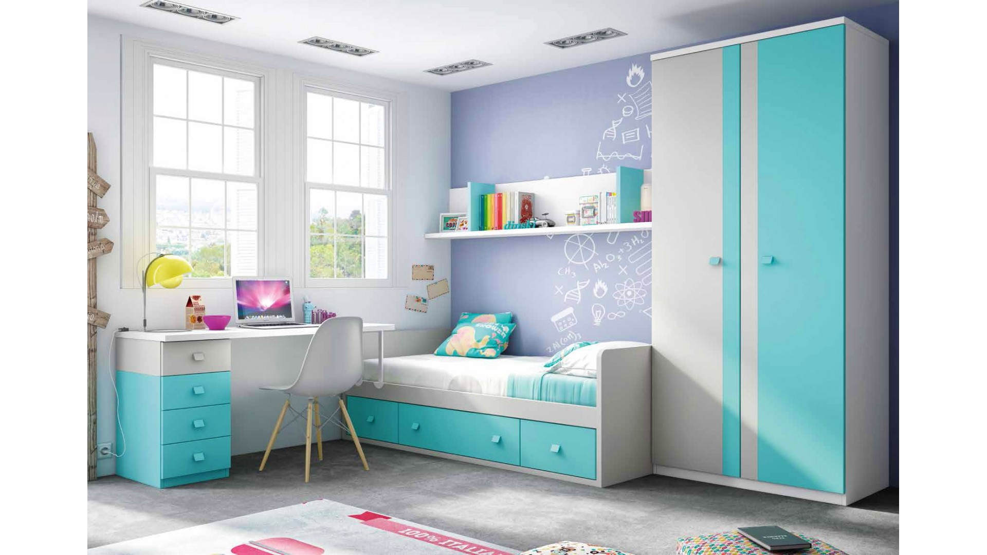 chambre enfant garcon avec lit canap et bureau glicerio so nuit. Black Bedroom Furniture Sets. Home Design Ideas