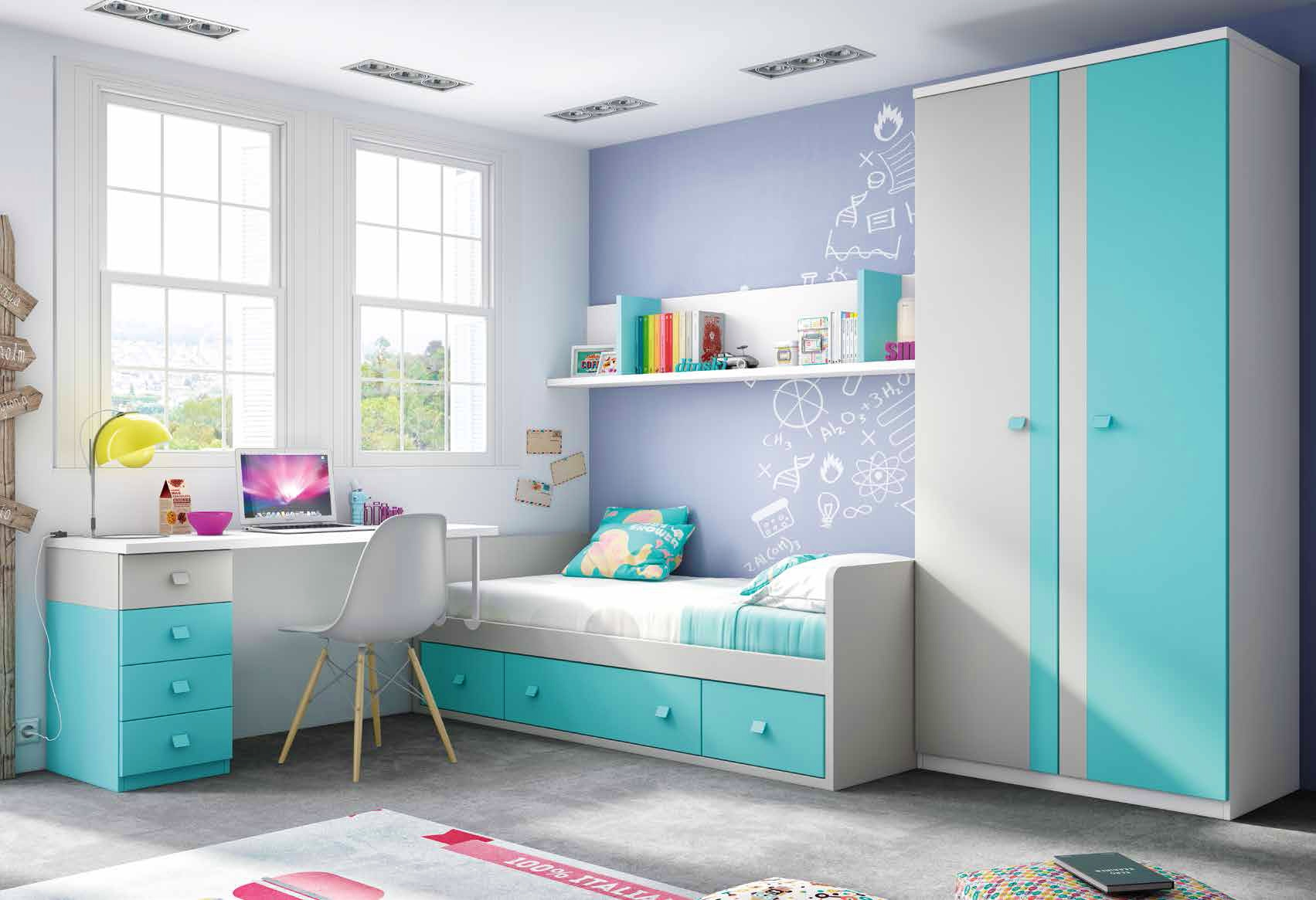 chambre enfant garcon avec lit canap et bureau glicerio. Black Bedroom Furniture Sets. Home Design Ideas