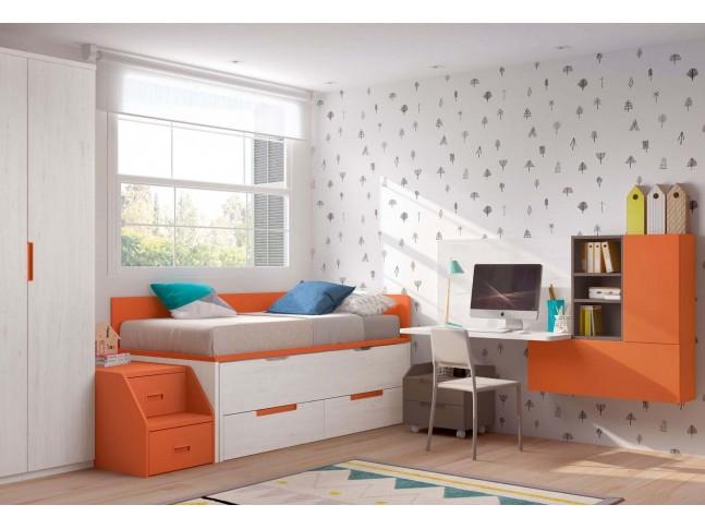 Chambre moderne ado avec lit gigogne PERSONNALISABLE F160 - GLICERIO