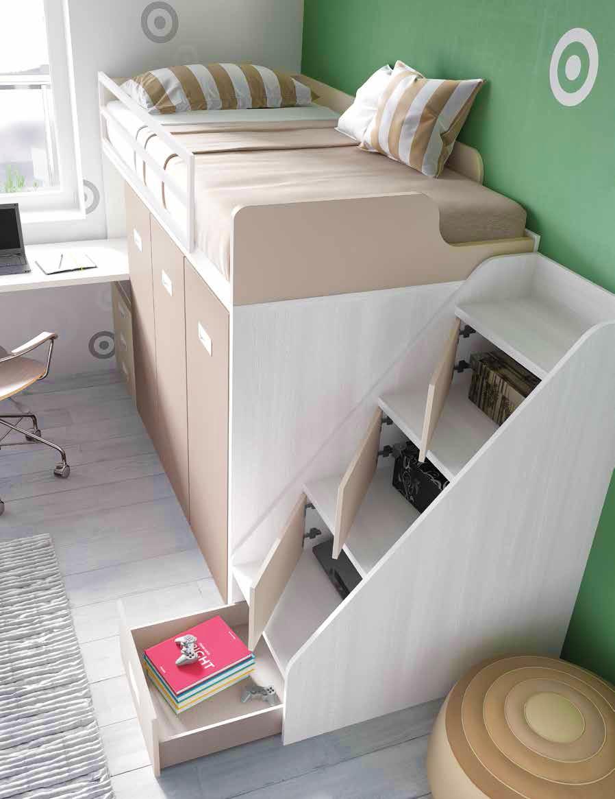 Lit mezzanine avec bureau moderne et fun glicerio so nuit for Lit mezzanine avec bureau