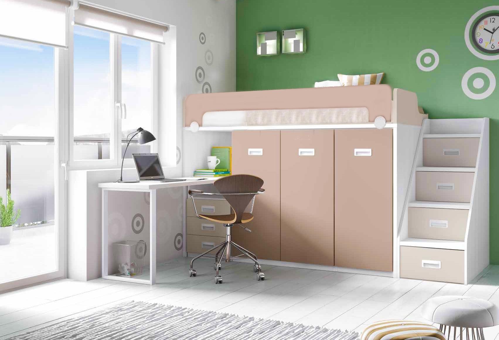 Lit mezzanine avec bureau PERSONNALISABLE F260 - GLICERIO