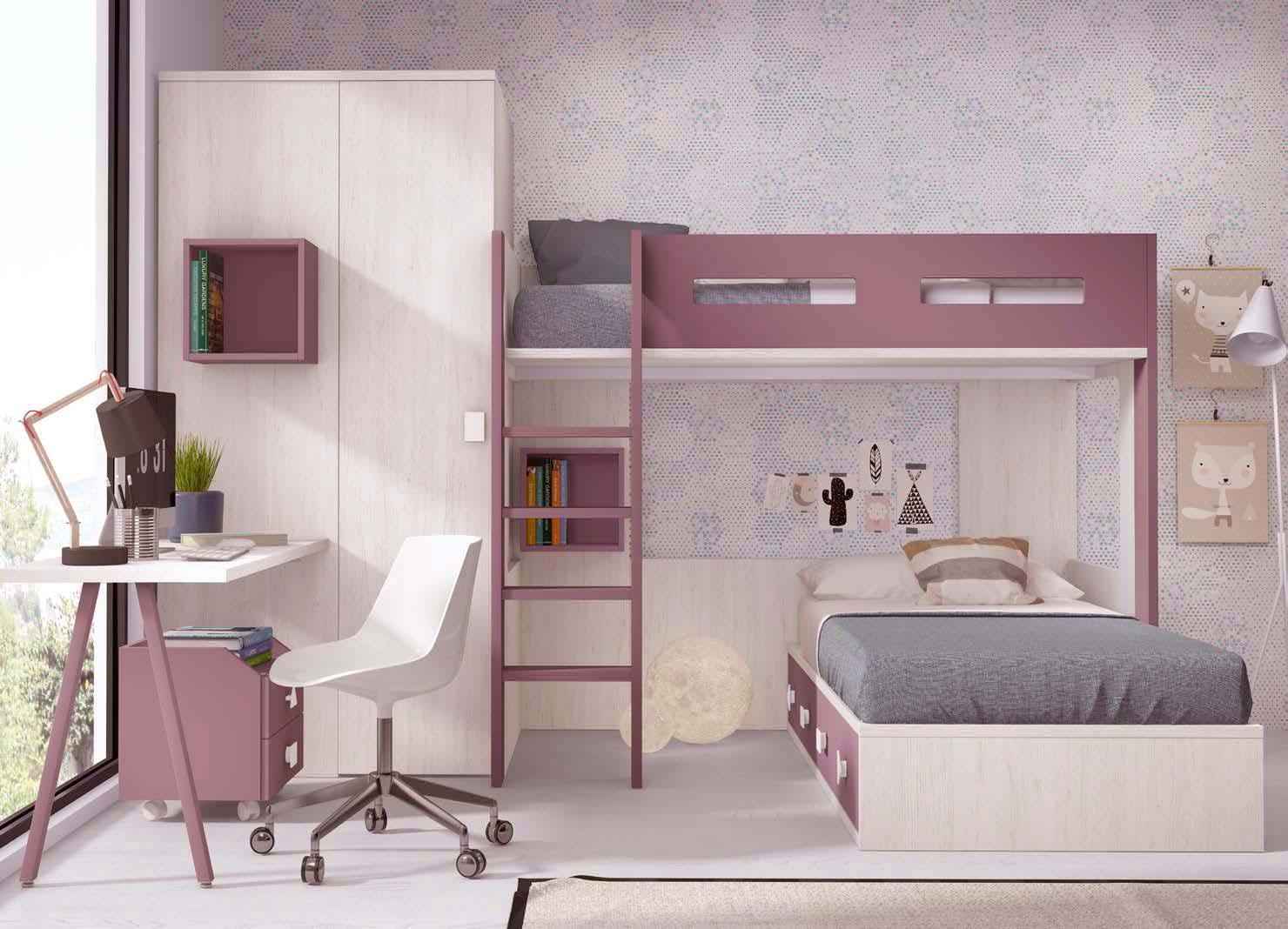 Lit superposé séparable avec armoire et bureau PERSONNALISABLE F265 - GLICERIO