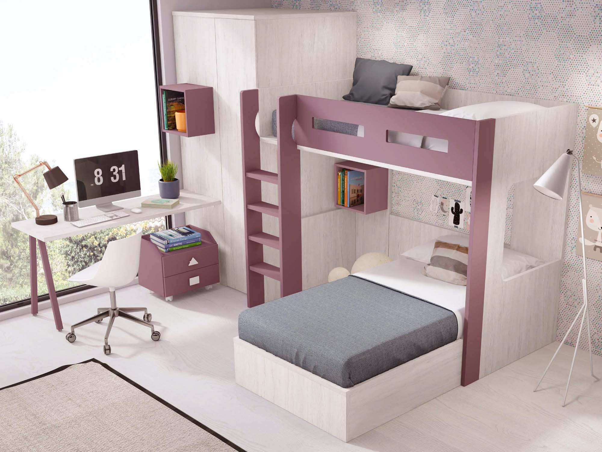 lit superpos s parable avec armoire d 39 angle fun glicerio so nuit. Black Bedroom Furniture Sets. Home Design Ideas