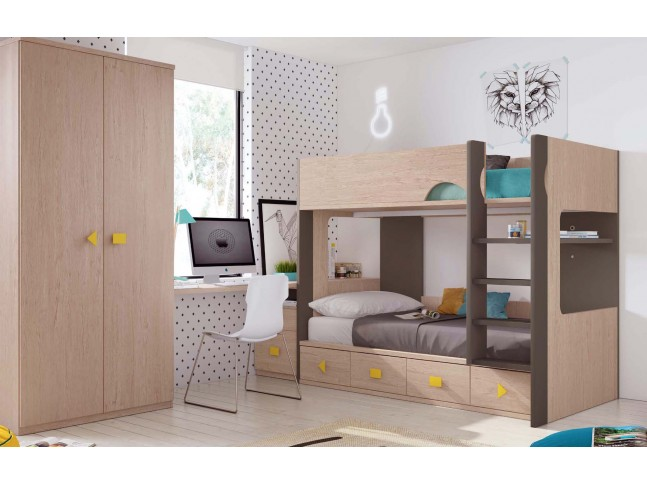 chambre enfant avec lit mezzanine bureau moretti. Black Bedroom Furniture Sets. Home Design Ideas