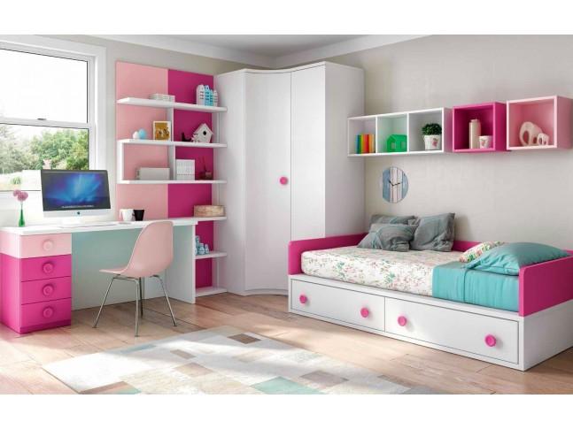 Chambre enfant fille avec bureau PERSONNALISABLE F163 - GLICERIO