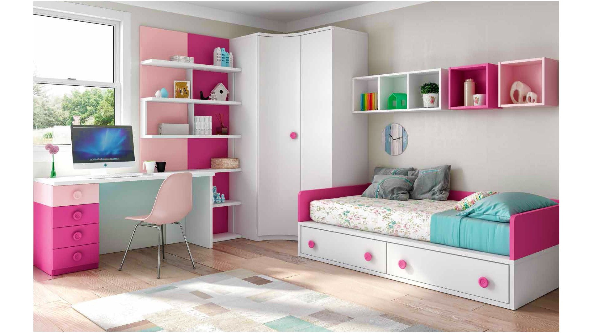 chambre enfant fille bicolore fun et pratique glicerio. Black Bedroom Furniture Sets. Home Design Ideas