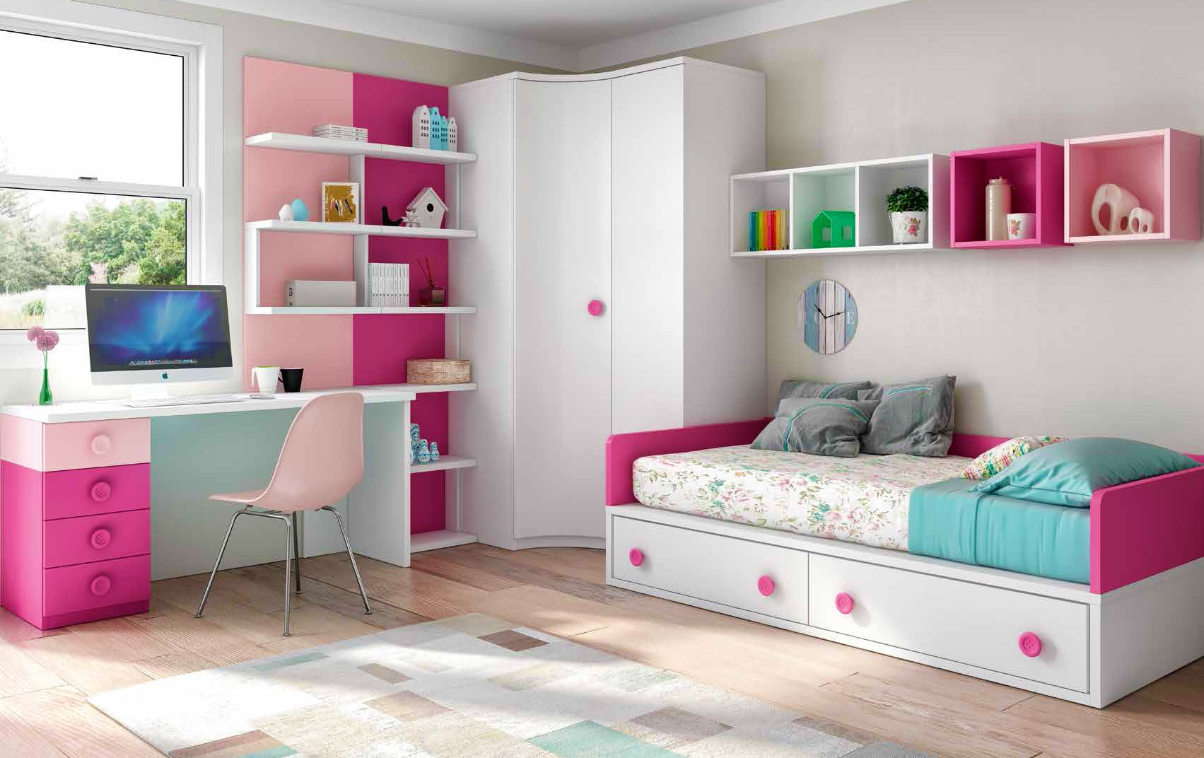 chambre enfant fille bicolore fun et pratique glicerio so nuit. Black Bedroom Furniture Sets. Home Design Ideas