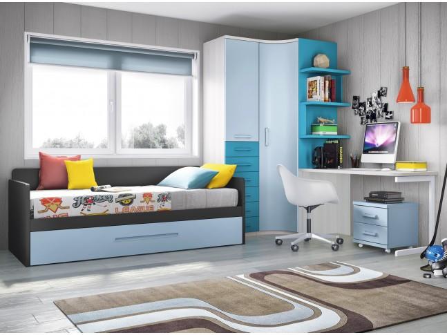 Chambre ado garcon PERSONNALISABLE avec lit gigogne F165 - GLICERIO