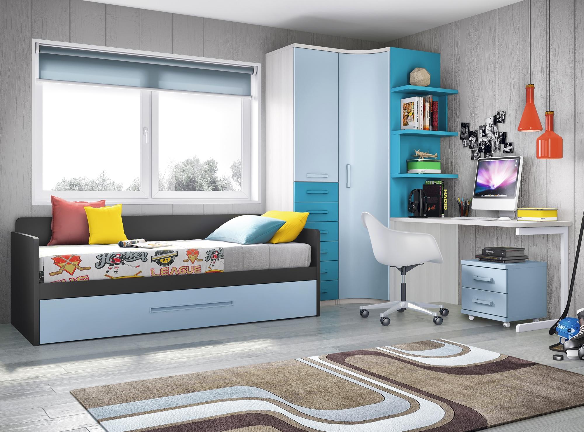 Chambre ado garcon avec armoire courbe pratique glicerio - Modele de chambre ado garcon ...